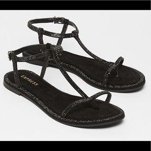 NWT- Express- Embellished Soft T-Strap sandals 🗝
